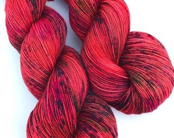 Koral- Hand dyed yarn, sock weight, Superwash Merino, 463 yards