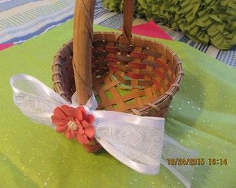 Basket Flower Girl Vintage Heart Shaped Peach Rose Green Weaving Stenciled Stars White Heart Bow Peach Paper Flower Bling One of a Kind Gift