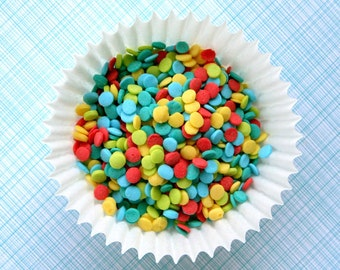 Celebration Confetti Quin Sprinkles for Decorating Cupcakes and Cookies (3 oz) - red, yellow, blue, lime