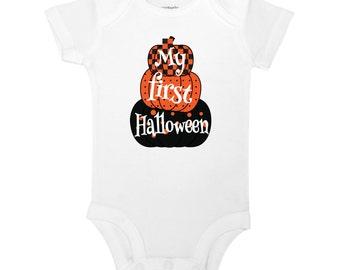 My First Halloween - Halloween, Fall, Pumpkins Baby One Piece Bodysuit or Toddler T-shirt