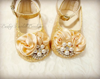 Gold Sequins Baby Girl Shoes,Crib Shoes,Soft Sole Shoes