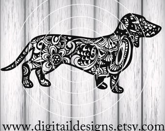 Zentangle Dacshund SVG - png - fcm - eps - dxf - ai - Cut File - Silhouette - Cricut - Dachshund Cut File - Doodle Dachshund - Dog SVG