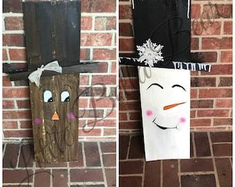 fall / snowman wood seasonal Decor