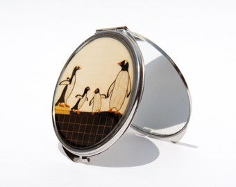 COMPACT MIRROR - Penguin  Mirror - NYC - Custom- Bridesmaid Gifts - Valentine's Day
