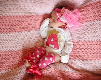 Newborn Take Home Outfit - Baby Girl outfit in hot pink and gold - 'Her First Bow' - Take Me Home Outfit - bodysuit, leg warmers and hairbow