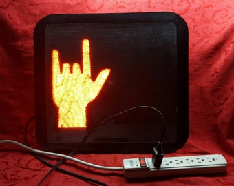 I Love You Sign Language ASL Symbol LED Crosswalk Light wired for home use Traffic Signal Sign