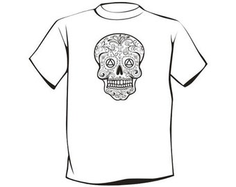 AA Sugar Skull T-Shirt - Unique 12 Step Recovery Clothing, Wearables, and Swag! ...from your friends at WoodenUrecover.com
