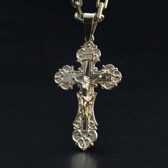 Luxury golden pendant cross orthodox cross pendant gold luxury golden pendant cross orthodox cross pendant gold necklace cross aloadofball Gallery
