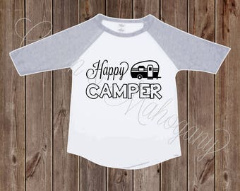 Happy Camper Toddler Raglan Shirt