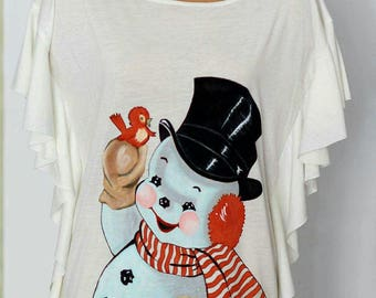 Hand painted snowman on woman blouse