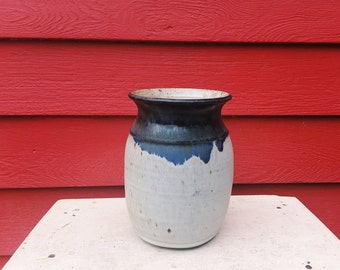 Tall White Stoneware Vase with Blue Flowing Rim