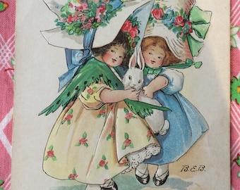Easter Postcard Girls in Easter Bonnet with Bunnies Artist Signed Bertha Blodgett