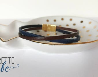 Blue and brown leather with gold clasp bracelet