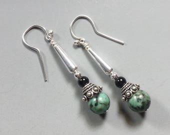 Beautiful Sterling Silver and AfricanTurquoise Earrings with Black Onyx
