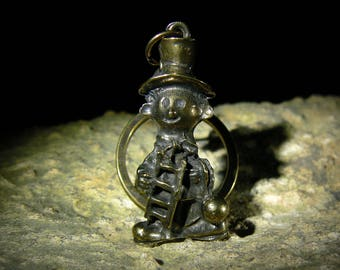 Antique Solid Bronze Lucky Chimney-sweeper Talisman Keychain