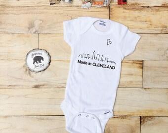 Made In Cleveland ONESIE® | cleveland | ONESIES® | cleveland baby | i love cleveland | born in cleveland ONESIE® | cleveland skyline |