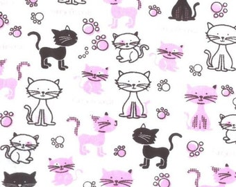 Cats Furry Friends Fabric Cotton Flannel