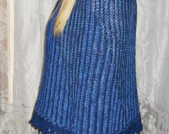 Ocean Blues Knitted Short Row Capelet With Lace Edging