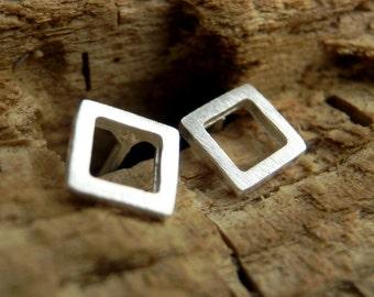 Tiny Square Stud Earrings. Steling Silver Open Square Earrings. Geometric Earrings. Stud Earrings. Girls Jewelry. Small Earrings.Minimalist