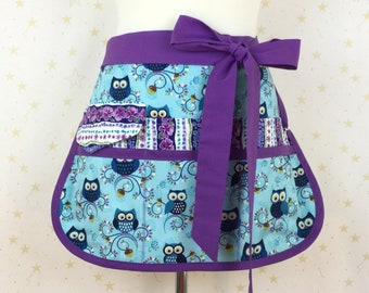 Owls  Sassy Half Vendor/ Teacher Apron, 6/8 pockets, Womens Regular and Plus SIzes, great for Teachers, Vendors, Crafts, Farmers Market