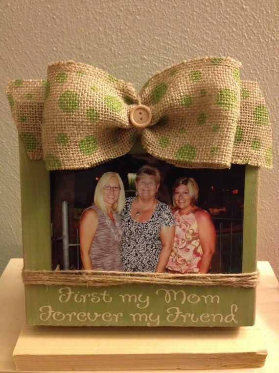 Distressed Painted Wood Block Frame With Twine Holder Amp Burlap