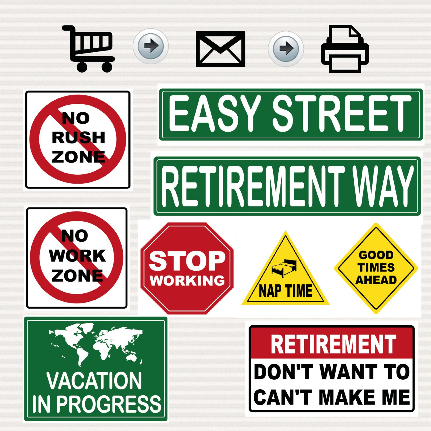 Retirement party printable signs kit road signs travel zoom buycottarizona Image collections