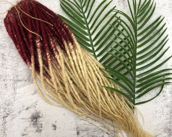 BURGUNDY to blonde DREADS Single OR Double Ended Synthetic Dreadlocks Extensions. Dreads Fall. Crochet or Classic. Hair extensions