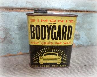 vintage simoniz bodygard car wax can from 1952 petroliana advertising GREAT auto graphics gift for men