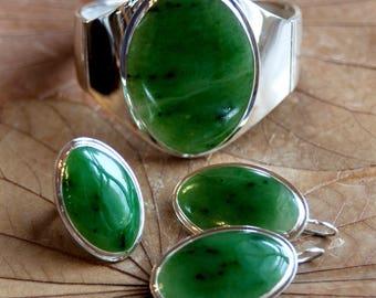 Nephrite Jewelry, Silver Nephrite Set, Nephrite Bracelet,  Nephrite Earrings,  Nephrite Ring, Natural Russian Nephrite, Separate Sale Items