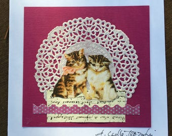 Vintage art card - ORIGINAL COLLAGE - 2 little cats
