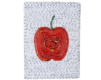 Small picture of an apple using upcycled magazine paper, FREE SHIPPING, Upcycled home decor, upcycled centerpiece, upcycled paper art