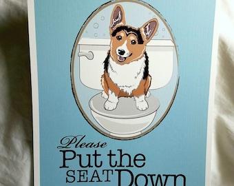 Put the Seat Down Tri-color Corgi - 8x10 Eco-friendly Print