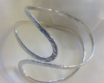 Free Formed Hammered Sterling silver  open work Bangle Uk hand made