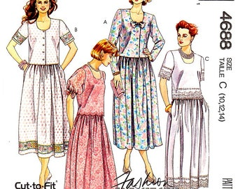 Misses Pullover or Button-Front Blouse and Pull-On Skirt with Trim Variations, Sizes 10,12,14, McCall's 4688