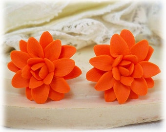 Orange Dahlia Earrings Stud or Clip On - Dahlia Jewelry