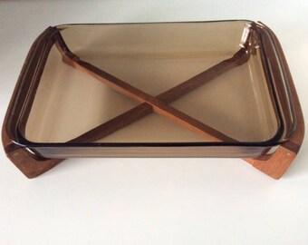 Brown Glass Pyrex Rectangular Casserole Dish w/ Wood Stand | Corning | UK | Vintage
