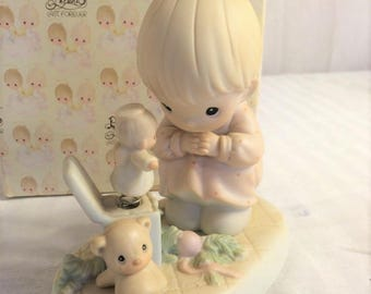 """Precious Moments Figurine """" Just dropping in to say Halo """" in original box , excellent condition w/ Reduced shipping"""