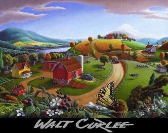 Original Oil Painting Blackberry Patch Landscape Painting Farm Painting Country Painting Americana Appalachian Folk Art Painting WALT CURLEE
