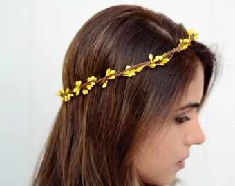 THE BELINDA - Yellow Sprout Woodland Wreath Crown Flower Floral Girl  Bridal Wedding Hair Boho wedding headpiece Halloween Costume