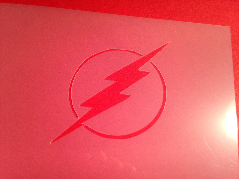 Flash logo plantilla superhéroe silueta dormitorio aerógrafo