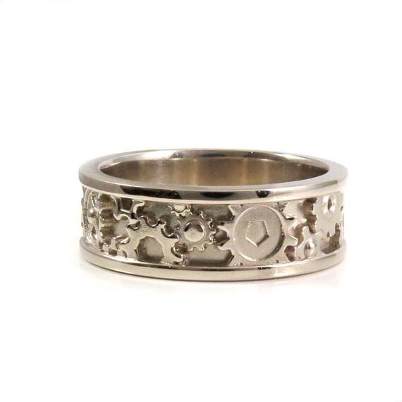 Mens Modern White Gold Wedding Band - Steampunk Gear Ring
