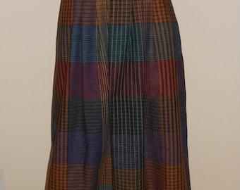 Vintage Claude Skirt 11 12 A Line Pleated Front Multi Color Plaid Union Made Label