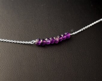 February Birthstone Bracelet, Amethyst Bracelet, Sterling Silver Bracelet, African Amethyst Bracelet, February Birthday, Gift for Her