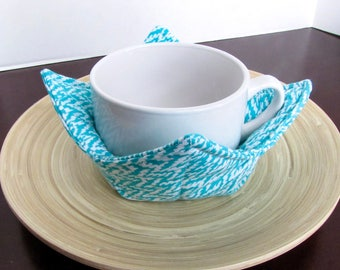 Soup Bowl Pot Holder, Bowl Carry Placemat, Set of Two, Soup Carrier, Turquoise Blue and White Waves