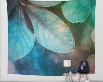Leaves Wall Tapestry, Forest Wall Art, Green Blue Large, Tree Fine Art Photography, Nature, Wedding Gift, Outdoor, Garden, Teal, Dorm,Office