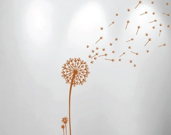 "Dandelion and Seeds Blowing in the Wind Wall Nursery Decal 1156 (Choose Color) 48"" high x 16.5"" wide"