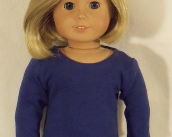 American Made 18 inch Doll Long Sleeved Royal Blue Crew Neck T-Shirt