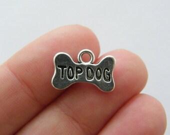 10 Top dog bone charms antique silver tone A882