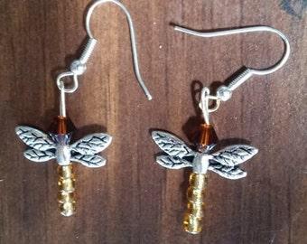 OUTLANDER EARRINGS, Dragonfly in Amber, Outlander Jewelry, Outlander Gifts,  Gifts for Women, Gifts Under 10, Beaded, Drop, Dangle, Earrings
