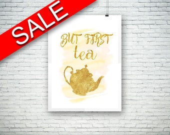 Wall Decor Tea Printable Tea Prints Tea Sign Tea  Printable Art Tea tea quote print tea time tea potter watercolor pink gold quote